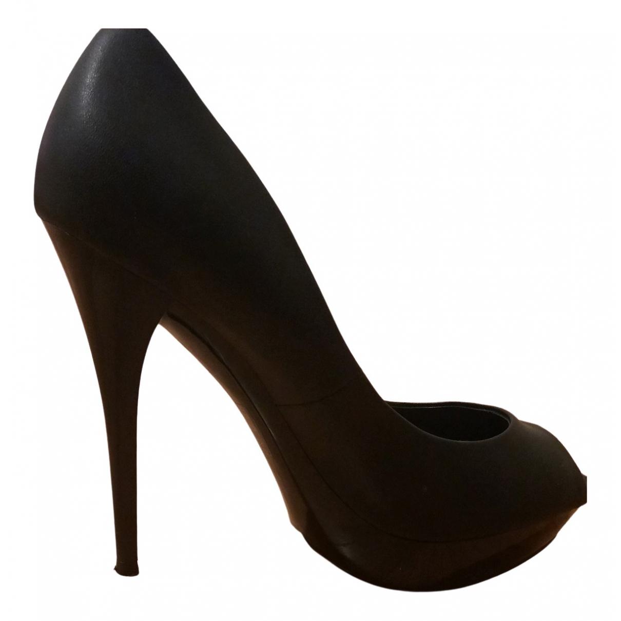 Mango N Black Leather Heels for Women 38 EU