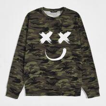 Pullover mit Karikatur Grafik und Camo Muster