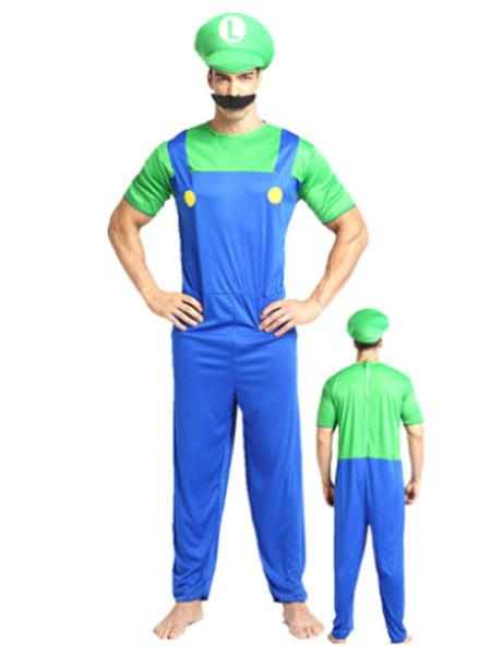 Milanoo Men's Halloween Costume Red Super Mario Bros Two Tone Jumpsuit With Hat And Bread Waluigi Costume
