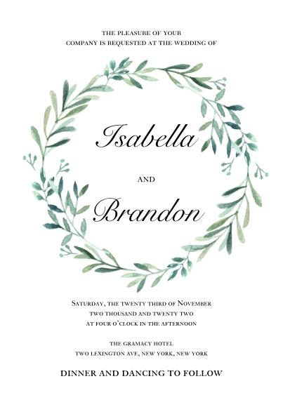 Wedding Invitations 5x7 Cards, Premium Cardstock 120lb with Elegant Corners, Card & Stationery -Wedding Invitation Foliage Wreath by Tumbalina