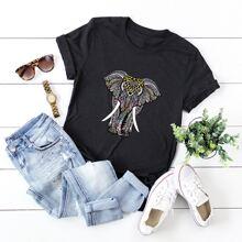 T-Shirt mit Elefant Muster und kurzen Ärmeln