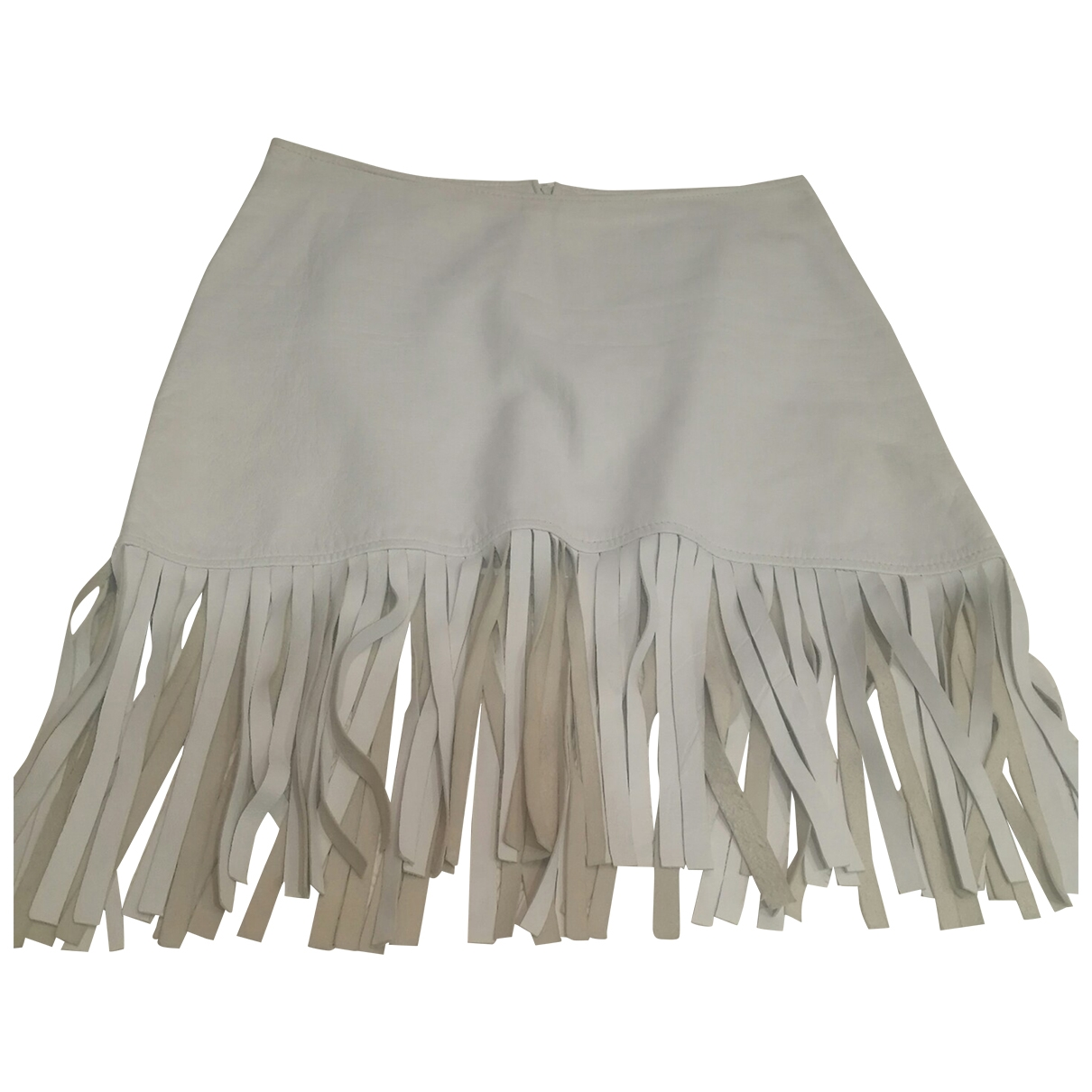Non Signé / Unsigned \N White Leather skirt for Women 38 FR