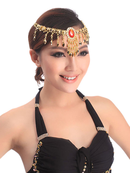 Milanoo Belly Dance Costume Gold Rhinestone Bollywood Dance Jewelry Accessories In 2 Piece Set