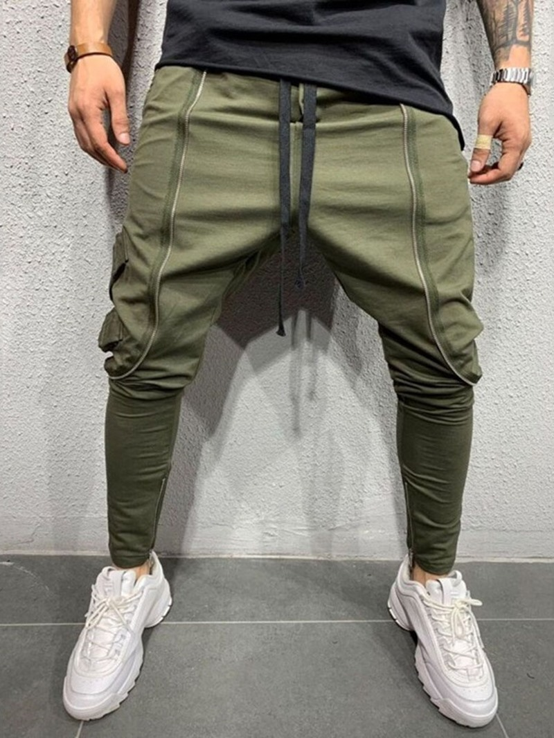 Ericdress Plain Zipper Baggy Lace-Up Men's Casual Pants