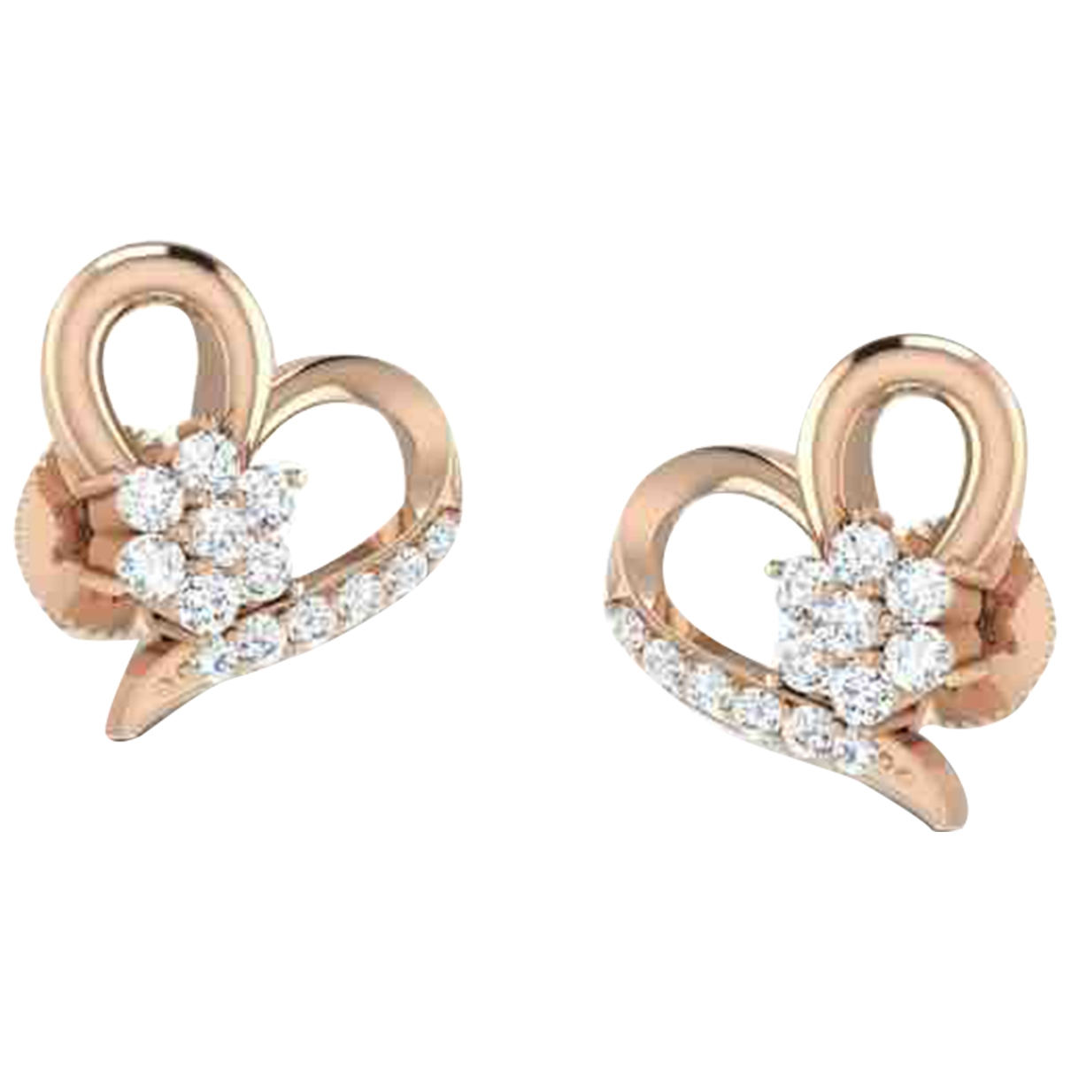 Non Signe / Unsigned Motifs Coeurs OhrRing in Rosegold