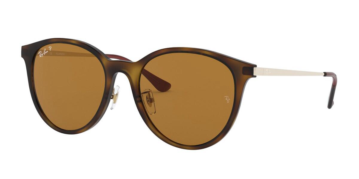 Ray-Ban RB4334D Asian Fit Polarized 710/83 Men's Sunglasses Tortoise Size 55