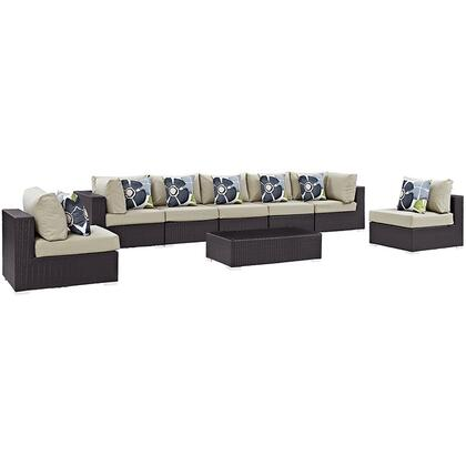 Convene Collection EEI-2370-EXP-BEI-SET 8-Piece Outdoor Patio Sectional Set with 5 Armless Chairs  2 Corner Sections and Coffee Table in Espresso and