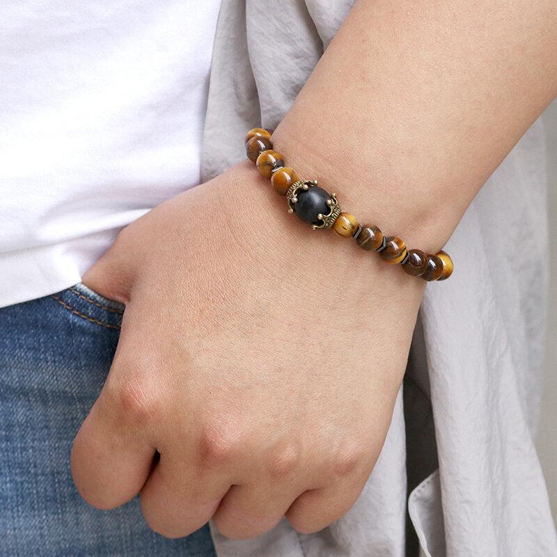 Trendy Vintage Man Bracelet Natural Stone Punk Star Agate Beaded Bracelet
