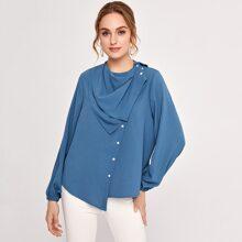 Bluse mit Laternenaermeln, drapiertem Detail und asymmetrischem Saum