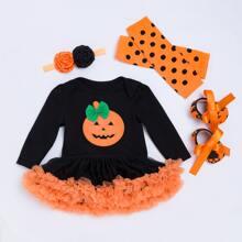 4 Packe Body mit Netzstoff Einsatz und Halloween Muster