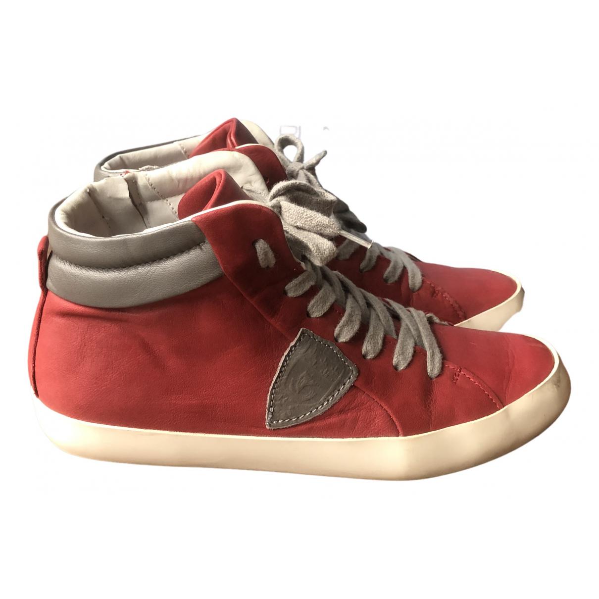Philippe Model \N Sneakers in  Rot Leder
