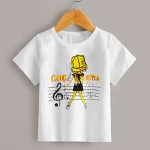 Camiseta de niñitas con estampado de letra y figura