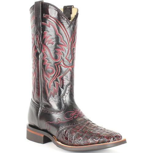 Men's Exotic Genuine Smooth Caiman Wide Square Toe Black Cherry Boots