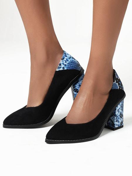 Milanoo Tacones altos para mujer Slip-On Light Sky Blue Snakeskin PU Punta estrecha Zapatos de tacon grueso