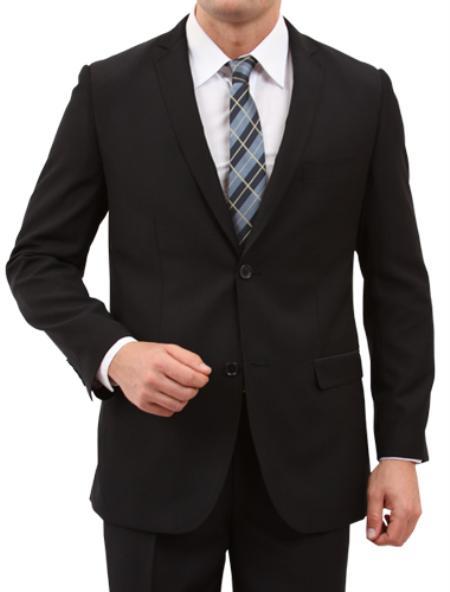 2 Button Black Front Closure Slim Fit Suit Mens Cheap