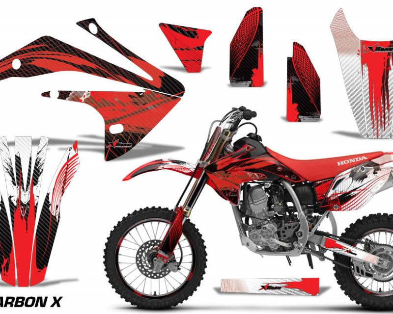AMR Racing Graphics MX-NP-HON-CRF150R-17-18-CX R Kit Decal Sticker Wrap + # Plates For Honda CRF150R 2017-2018 CARBONX RED