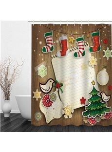 Colorful Christmas Theme Bathroom 3D Shower Curtain