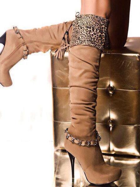 Milanoo Botas hasta la rodilla Cuero con apariencia suave de puntera de forma de almendra Marron 14cm de tacon de stiletto con borlas con dibujo retaz