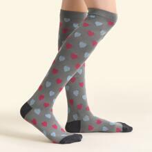 Heart Pattern Over Knee Length Socks