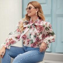 Camisa fina de cuello con cordon con estampado floral - grande