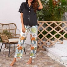 Satin Lapel Collar Tropical Print Night Set