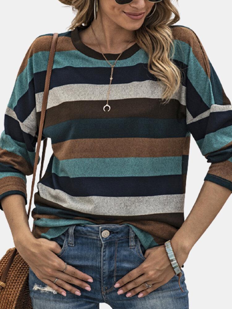 Striped Print O-neck Long Sleeve Side Slit Hem Blouse For Women