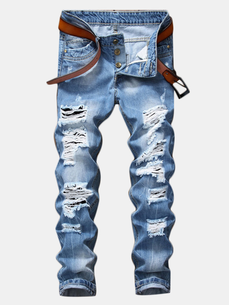 Casual Holes Ripped Fit Straight Blue Jeans for Men