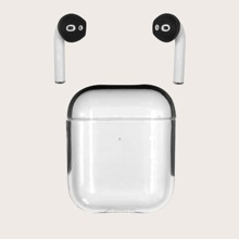 1pc Clear AirPods Case With 1pair Earphone Cover Cap
