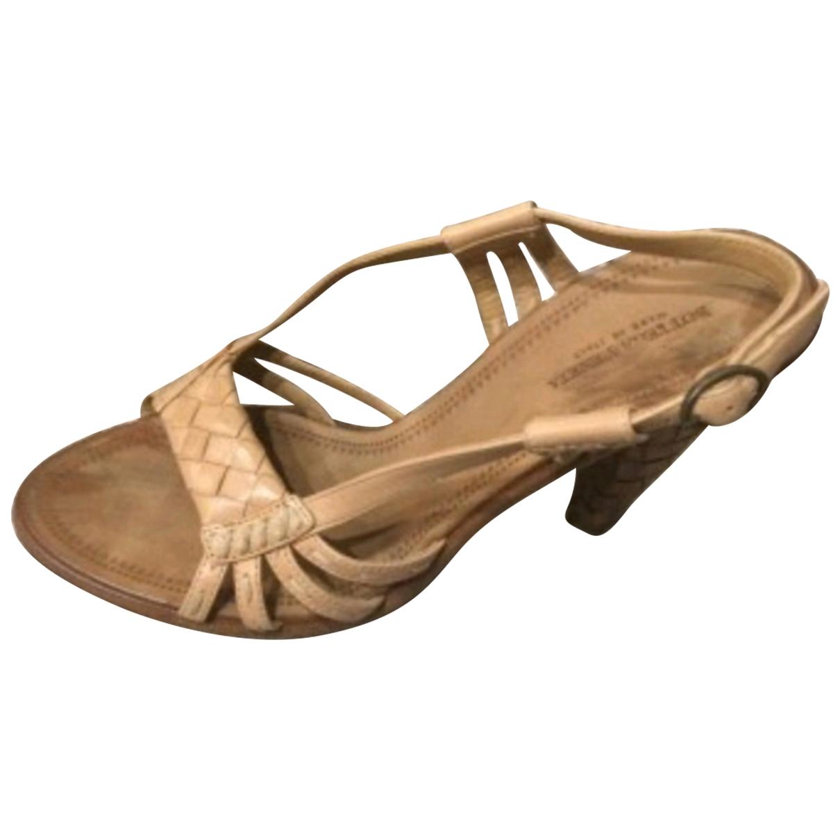 Bottega Veneta - Sandales   pour femme en cuir - camel