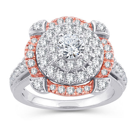 Womens 1 3/4 CT. T.W. Genuine White Diamond 10K Gold 10K Rose Gold Engagement Ring, 6 , No Color Family