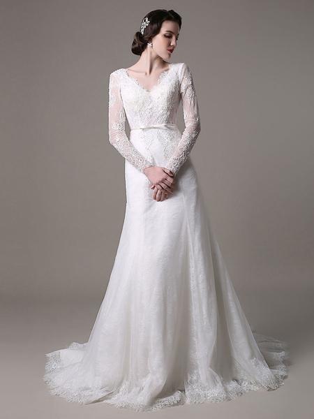Milanoo Vestido de novia con cuello en V y cuentas