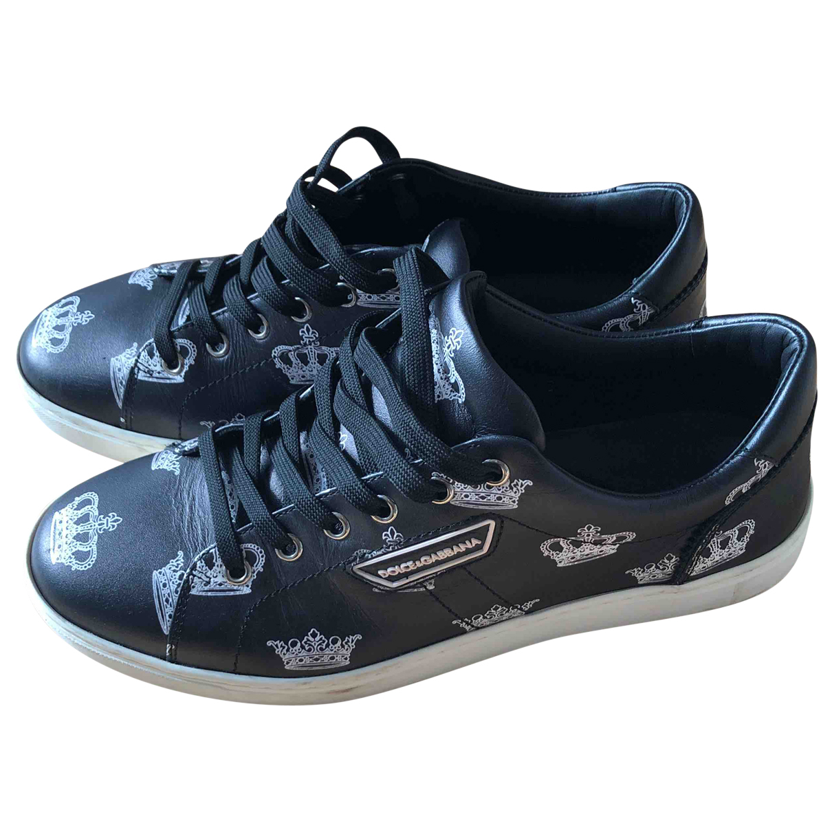Dolce & Gabbana Roma Black Leather Trainers for Men 41 EU