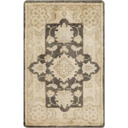 Ainsley AIN1012-23 2' x 3' Rectangular 100% Wool Hand Knotted Rug with Antique Wash  Minimal Shedding  Lustrous Sheen  and Made in India in Butter