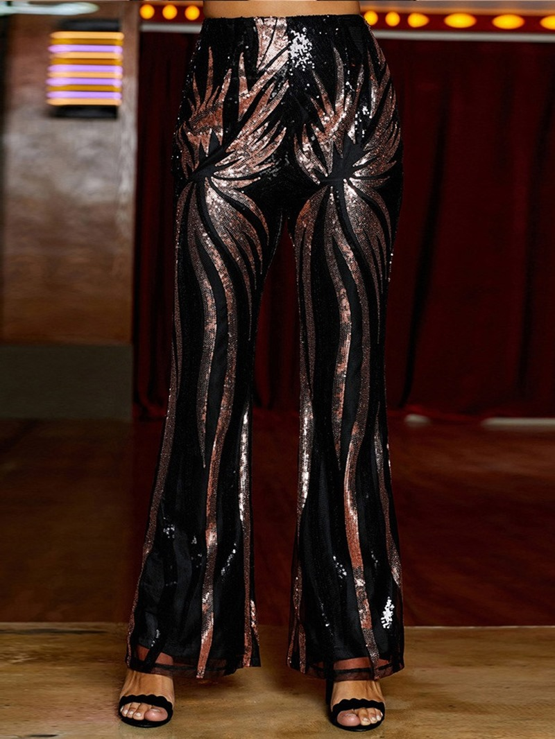 Ericdress Slim Sequin Bellbottoms High Waist Casual Pants