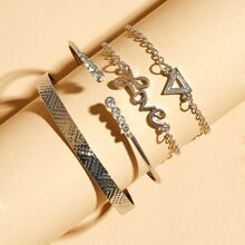 4pcs Letter & Triangle Charm Link Armband Set