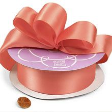 Polyester Light Coral Double Face Satin Ribbon - 7/8 X 50 Yards - Polyethyleneester by Paper Mart