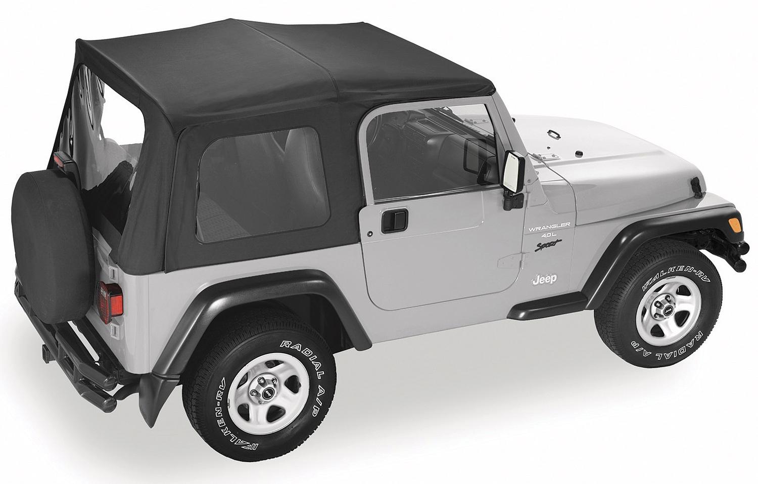 Pavement Ends 51131-35 By Bestop Black Diamond Replay OEM Replacement Soft Top Clear Windows w/ Upper Door Skins Jeep Wrangler 1997-2006