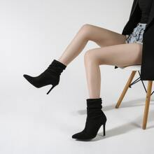 Point Toe Ruched Stiletto Ankle Boots