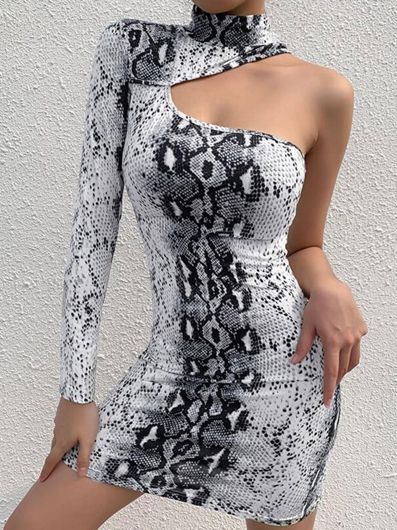 Ericdress Long Sleeve Above Knee Hollow Fall One-Shoulder Dress