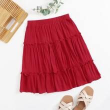 Frill Trim Layered Skirt