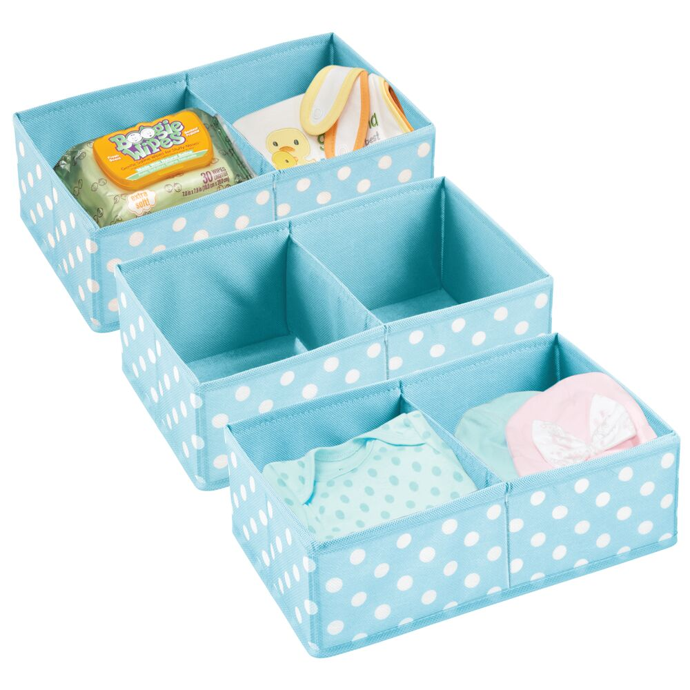 Baby + Kids Polka Dot Fabric Organizer Bin in Turquoise/White, Set of 3, by mDesign