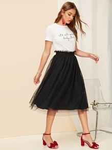 Paperbag Waist Polka Dot Mesh Overlay Skirt