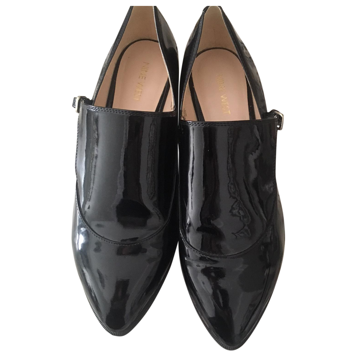 Nine West N Black Leather Flats for Women 10 UK