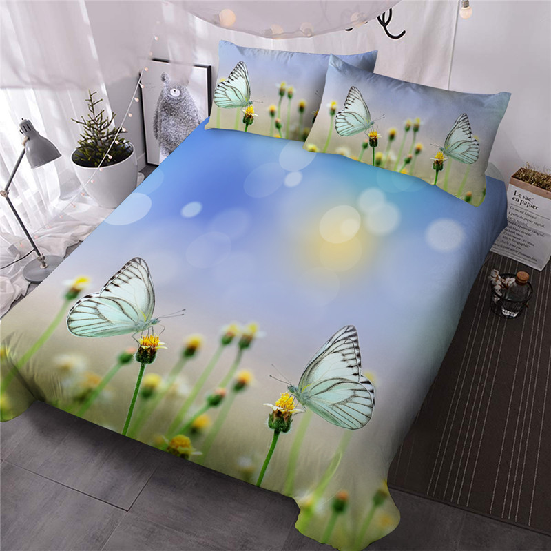 Fluttering Butterflies and Yellow Blossom Three-Piece Set Hand Wash Comforter Set Reactive Printing Polyester Bedding Sets Colorfast Wear-resistant En