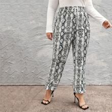 Pantalones Extra Grande Cordon Efecto De Serpiente Elegante