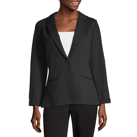 Worthington Relaxed Ponte Jacket - Tall, Small Tall , Black