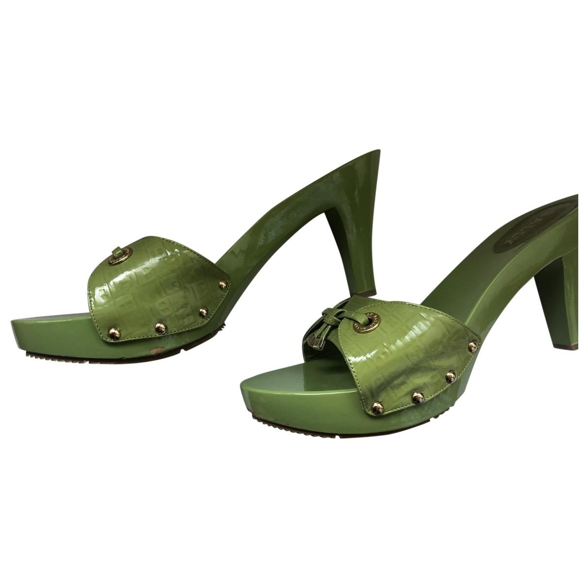 Bally - Sandales   pour femme en cuir verni - vert