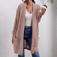 Patch Pocket Open Front Cardigan