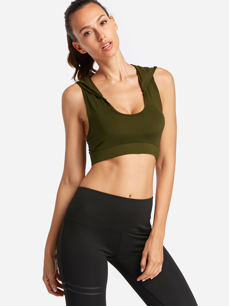 Yoins Army Green Hooded Design Stripe Scoop Neck Sports Bra