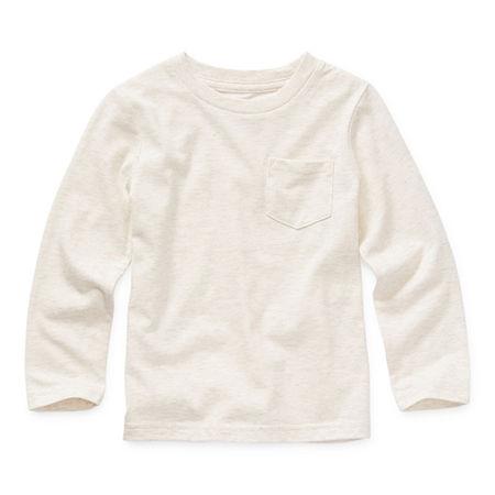 Okie Dokie Toddler Boys Crew Neck Long Sleeve T-Shirt, 2t , Beige